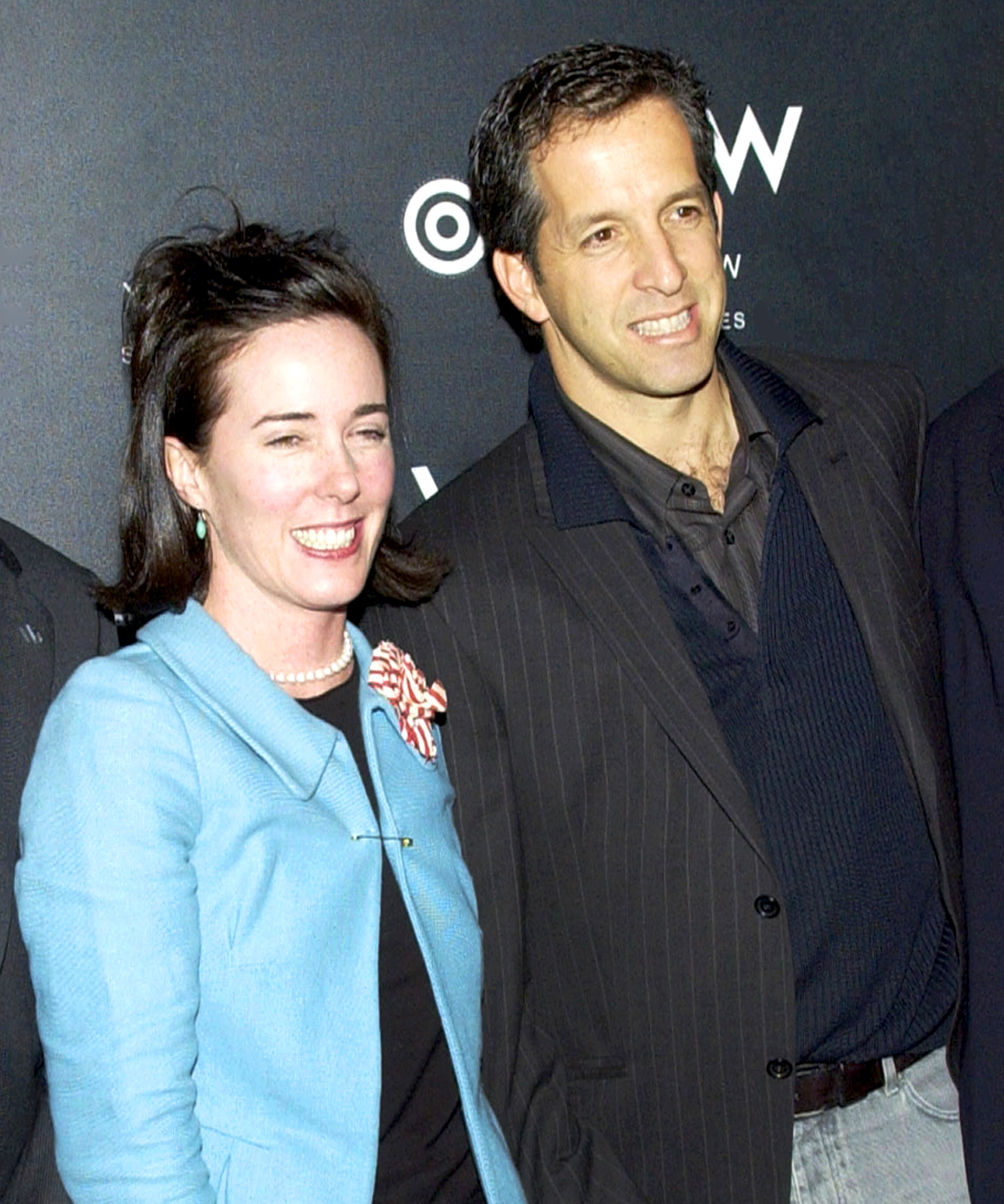 Kenneth Cole and Kate Spade attend the W Times Square Hotel opening in New York City in 2002.