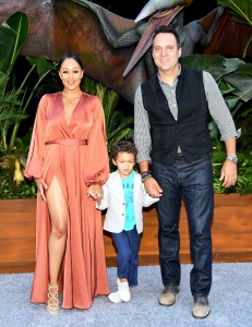 Tamera Mowry and Adam Housley with son Aden attend the premiere of 'Jurassic World: Fallen Kingdom' at Walt Disney Concert Hall on June 12, 2018 in Los Angeles, California.