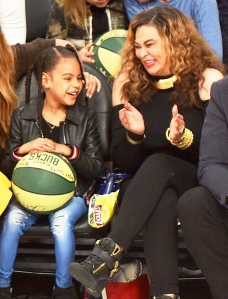 Blue Ivy and Tina Knowles attend The 67th NBA All-Star Game: Team LeBron Vs. Team Stephen at Staples Center on February 18, 2018 in Los Angeles, California.