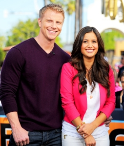 "Sean Lowe and Catherine Giudici visit ""Extra"" at Universal Studios Hollywood in Universal City, California."