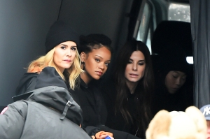 Sarah Paulson Rihanna, Sandra Bullock and Awkwafina seen on the set of 'Ocean's 8' in New York City.