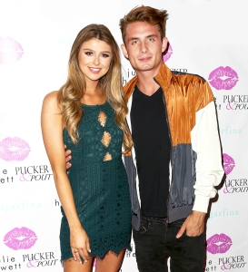 Raquel Leviss and James Kennedy at the Julie Hewett Pucker&Pout Collaboration 2017 Launch Party at SUR Lounge in Los Angeles, California.