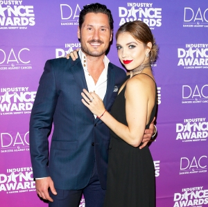 Val Chmerkovskiy and Jenna Johnson attend the 2017 Industry Dance Awards and Cancer Benefit show at Avalon in Hollywood, California.