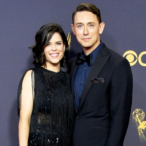 Neve Campbell and JJ Feild attend the 69th Annual Primetime Emmy Awards at Microsoft Theater in Los Angeles, California.