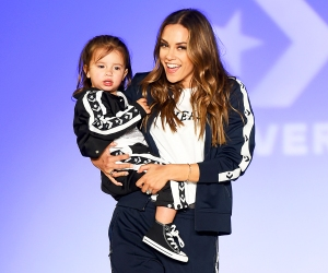 Jana Kramer walks the runway with her daughter Jolie during the 2018 Rookie USA Show held at Milk Studios on February 15, 2018 in Los Angeles, California.