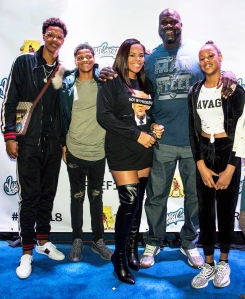 Shaquille O'Neal with four of his children at West Coast Customs on January 13, 2018 in Burbank, California.