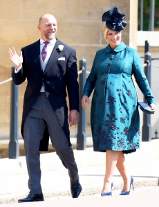 Mike and Zara Tindall attend the wedding of Prince Harry to Meghan Markle at St George's Chapel, Windsor Castle on May 19, 2018 in Windsor, England.