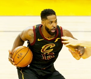 Tristan Thompson #13 of the Cleveland Cavaliers during the 2018 NBA Finals at ORACLE Arena in Oakland, California.