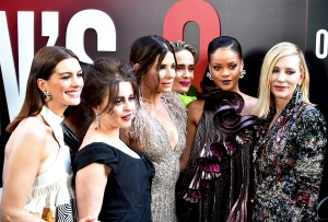 "Anne Hathaway, Helena Bonham Carter, Sandra Bullock, Sarah Paulson, Rihanna and Cate Blanchett attend the ""Ocean's 8"" World Premiere at Alice Tully Hall on June 5, 2018 in New York City."