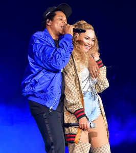 """Jay Z and Beyonce Knowles perform on stage during their """"On the Run II"""" tour opener at Principality Stadium on June 6, 2018 in Cardiff, Wales."""