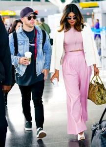 Nick Jonas and Priyanka Chopra at JFK airport on June 8, 2018 in New York City.