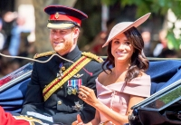 Prince Harry and Meghan Markle during Trooping The Colour 2018 on the Mall on June 9, 2018 in London, England.