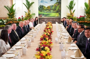 Donald Trump and his delegation share a working lunch Singapore's Prime Minister Lee Hsien Loong and his team during the US leader's visit to The Istana, the official residence of the prime minister in Singapore on June 11, 2018.