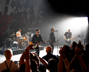 U2 performs on stage during SiriusXM's private concert at the Apollo Theater in Harlem, New York, on June 11, 2018.