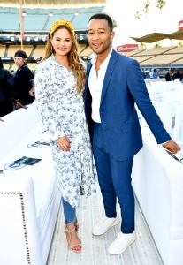 Chrissy Teigen and John Legend attends the Fourth Annual Los Angeles Dodgers Foundation Blue Diamond Gala at Dodger Stadium on June 11, 2018 in Los Angeles, California.