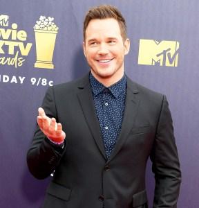 Chris Pratt arrives at the 2018 MTV Movie And TV Awards at Barker Hangar in Santa Monica, California.