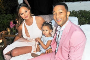 Chrissy Teigen and John Legend with their daughter Luna attend the 2018 launch of new rose wine brand LVE in Beverly Hills, California.