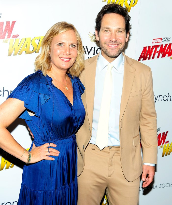 "Paul Rudd and wife Julie Yaeger attend The Cinema Society With Synchrony And Avion Host A Screening Of Marvel Studios' ""Ant-Man And The Wasp"" on June 27, 2018 in New York City."