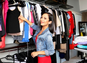 Cheryl Burke and thredUP closet cleanout in Cheryl's wardrobe room and closets.