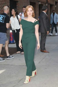 Jessica Chastain wearing green jumpsuit on The Late Show