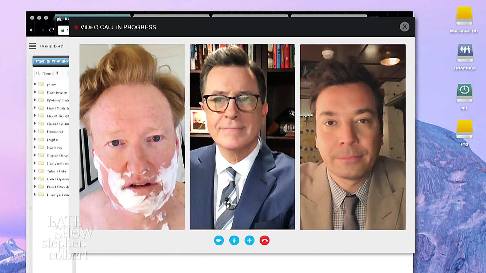 Colbert, Jimmy Fallon and Conan Join Forces for Trump Chat