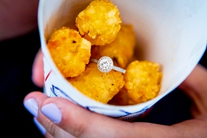 Julie McCutcheon and Justin Burgoon Sonic Engagement Ring Tater Tots