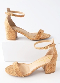 Lulus Harper Cork Ankle Strap Heels
