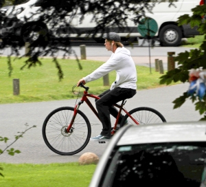 Brad Pitt goes for a bike ride in the U.K. on June 13, 2018.
