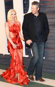 Gwen Stefani and Blake Shelton arrive at the 2016 Vanity Fair Oscar Party Hosted By Graydon Carter at Wallis Annenberg Center for the Performing Arts in Beverly Hills, California.