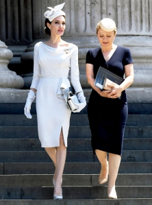 Angelina Jolie leaving the Service of Commemoration and Dedication, marking the 200th anniversary of the Most Distinguished Order of St Michael and St George at St Paul's Cathedral in London on June 28, 2018.