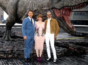 Chris Pratt, Bryce Dallas Howard and Jeff Goldblum