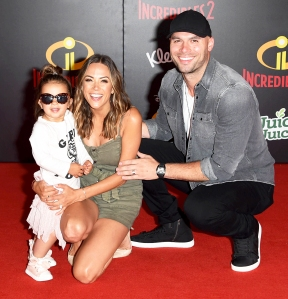 Jana Kramer, Mike Caussin and their daughter Jolie attend the World Premiere of Disney and Pixar's 'Incredibles 2' held on June 5, 2018 in Los Angeles, California.
