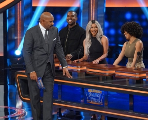 Kanye West and Kim Kardashian West appear on 'Celebrity Family Feud.'
