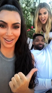 Kim Kardashian, Tristan Thompson and Khloe Kardashian