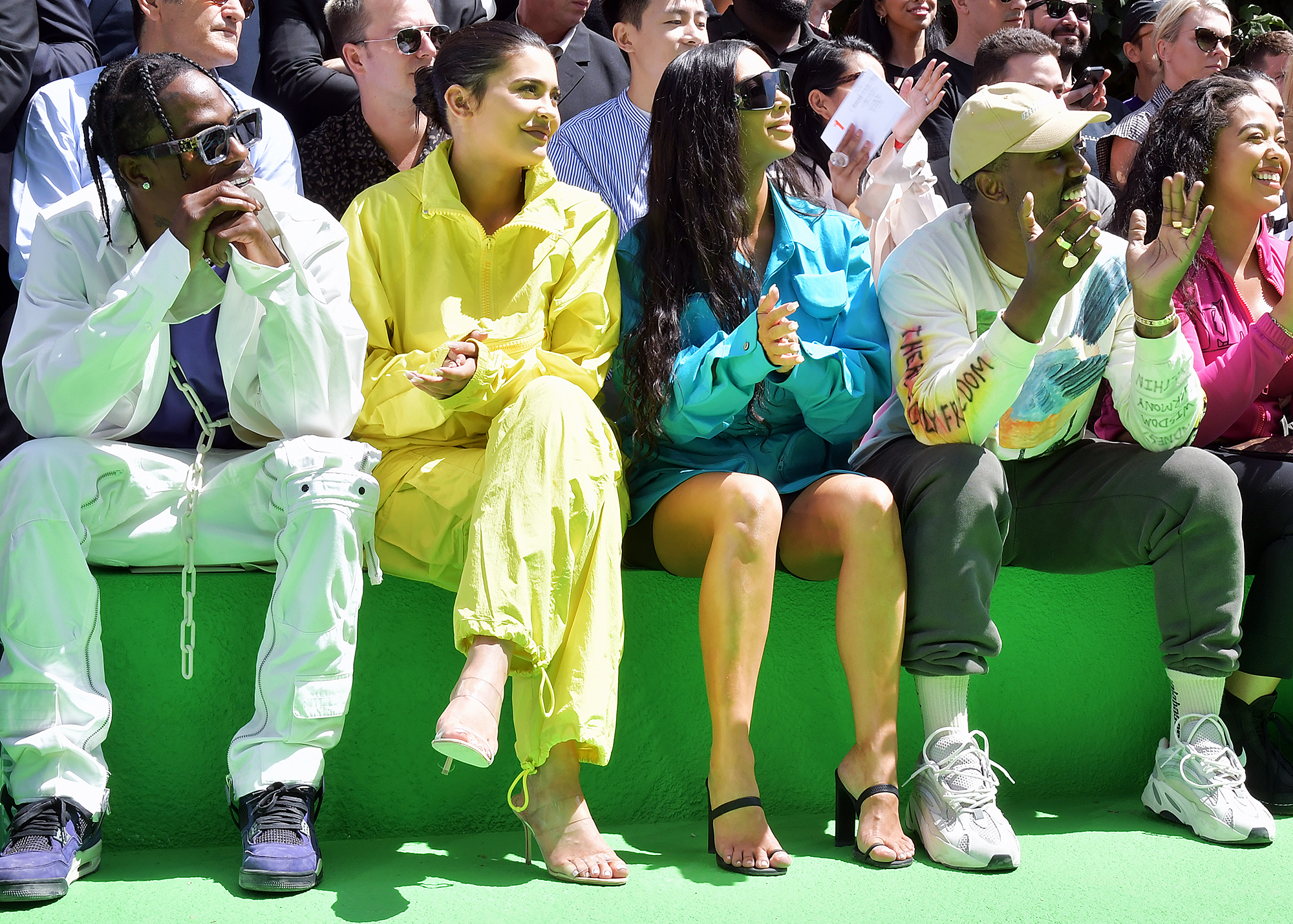 Travis Scott Kylie Jenner Kim Kardashian Kanye West - Travis Scott, Kylie Jenner, Kim Kardashian West and Kanye West in the front row at the Louis Vuitton show at Paris Fashion Week on June 21, 2018.