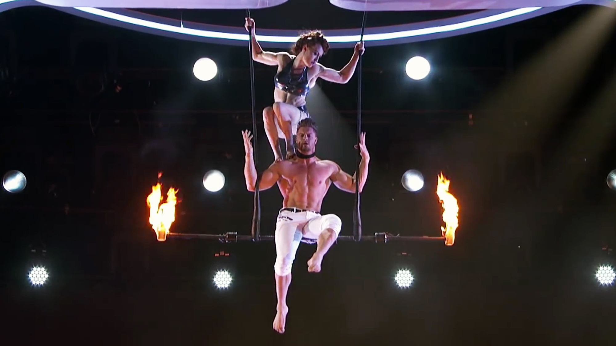 america s got talent trapeze act with blind stuntman goes wrong