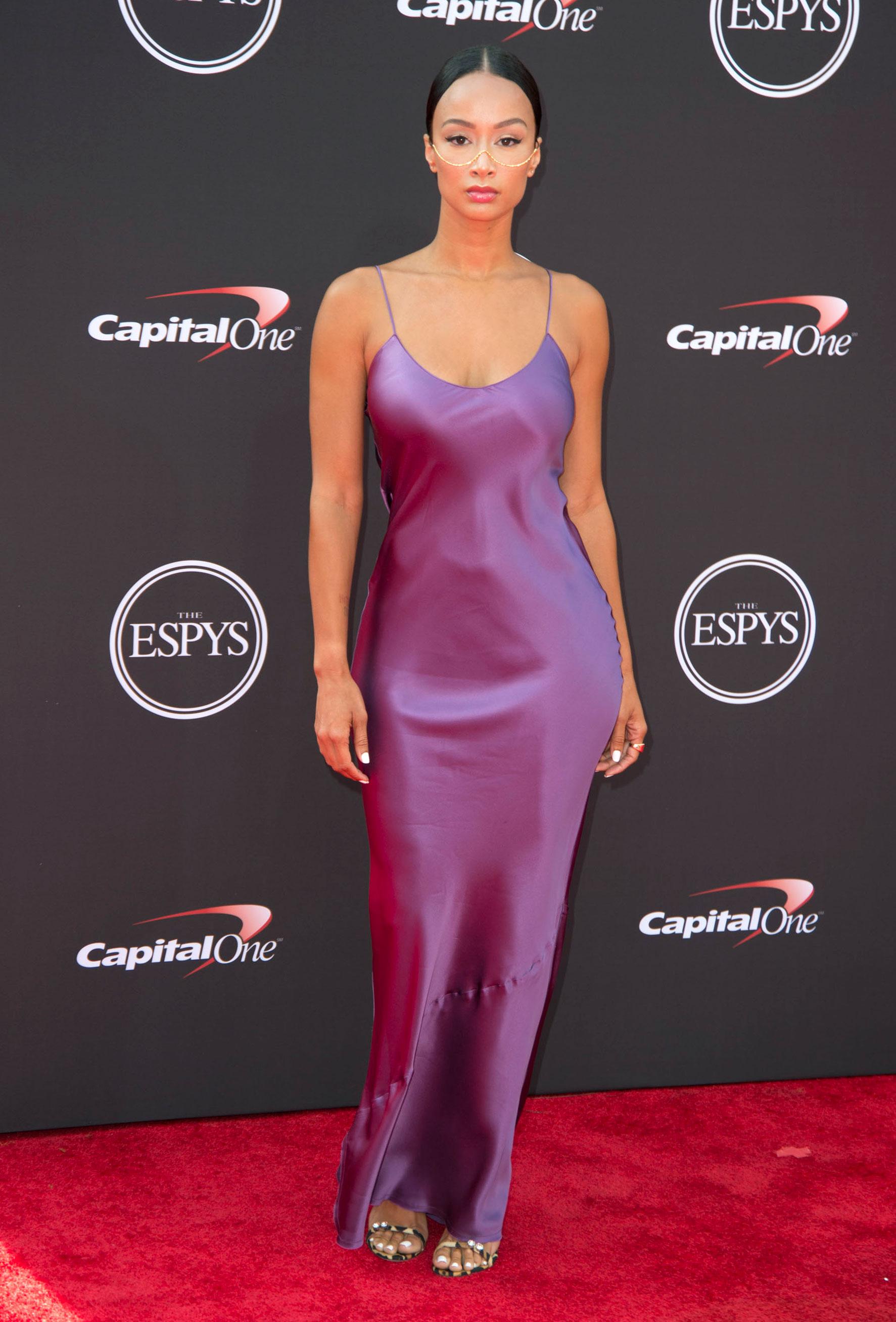 DRAYA-MICHELE-espys - Wearing a purple Nili Lotan slip dress.
