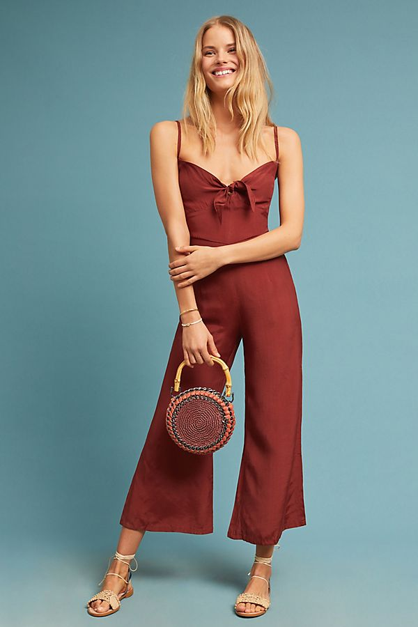 cropped wine jumpsuit anthropologie