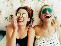 Girls wearing eye masks