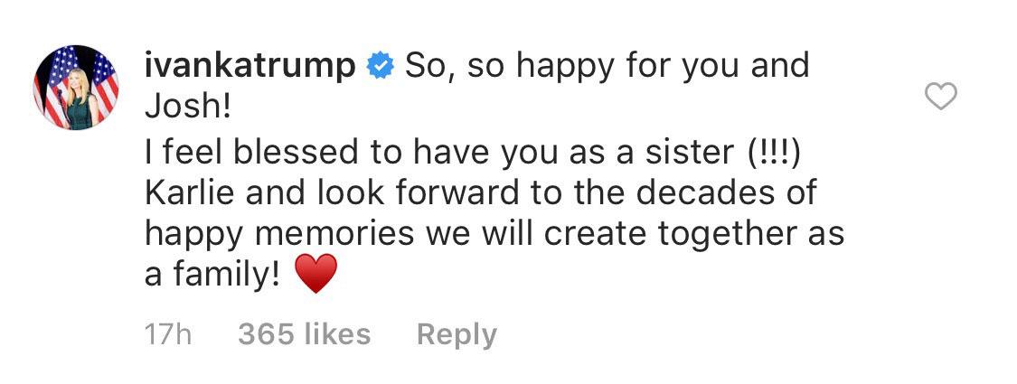 Ivanka Trump Karlie Kloss engagement