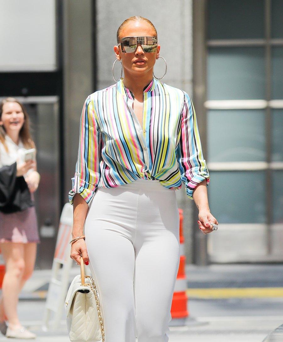 jennifer lopez rainbow stripe top