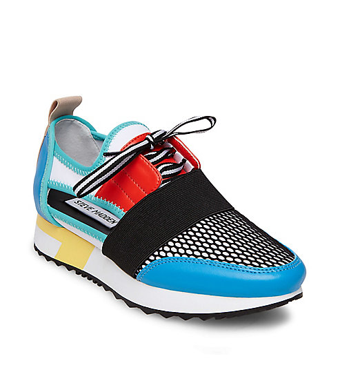 STEVEMADDEN-ATHLETIC_ARCTIC_BRIGHT-MULTI - The ultimate art project, this color-block style features a 1-inch treaded sole and lots of fun textures. $89.95, stevemadden.com