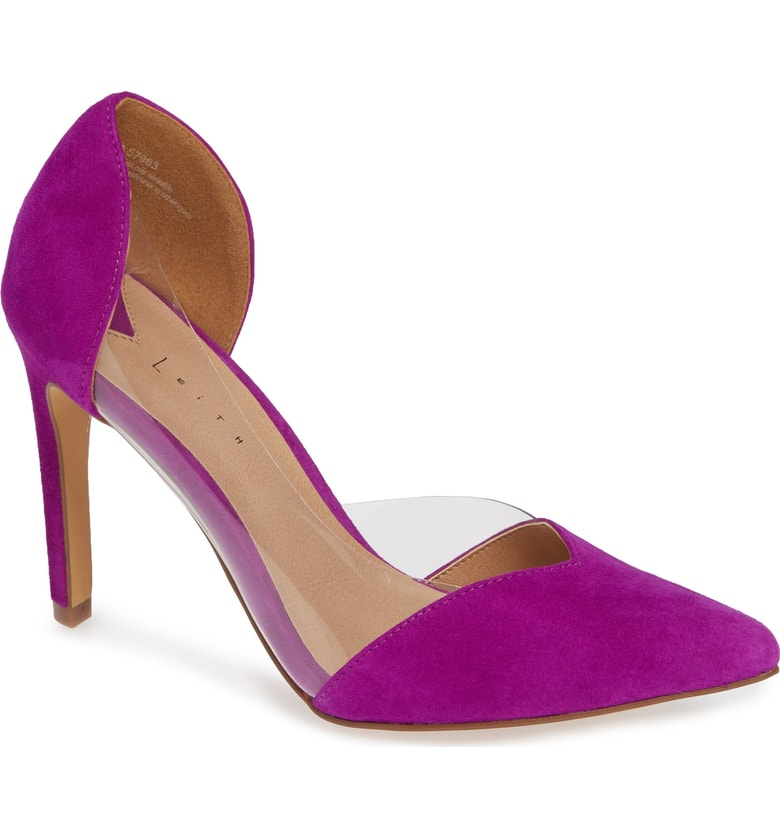 fuchsia purple heels pointed toe