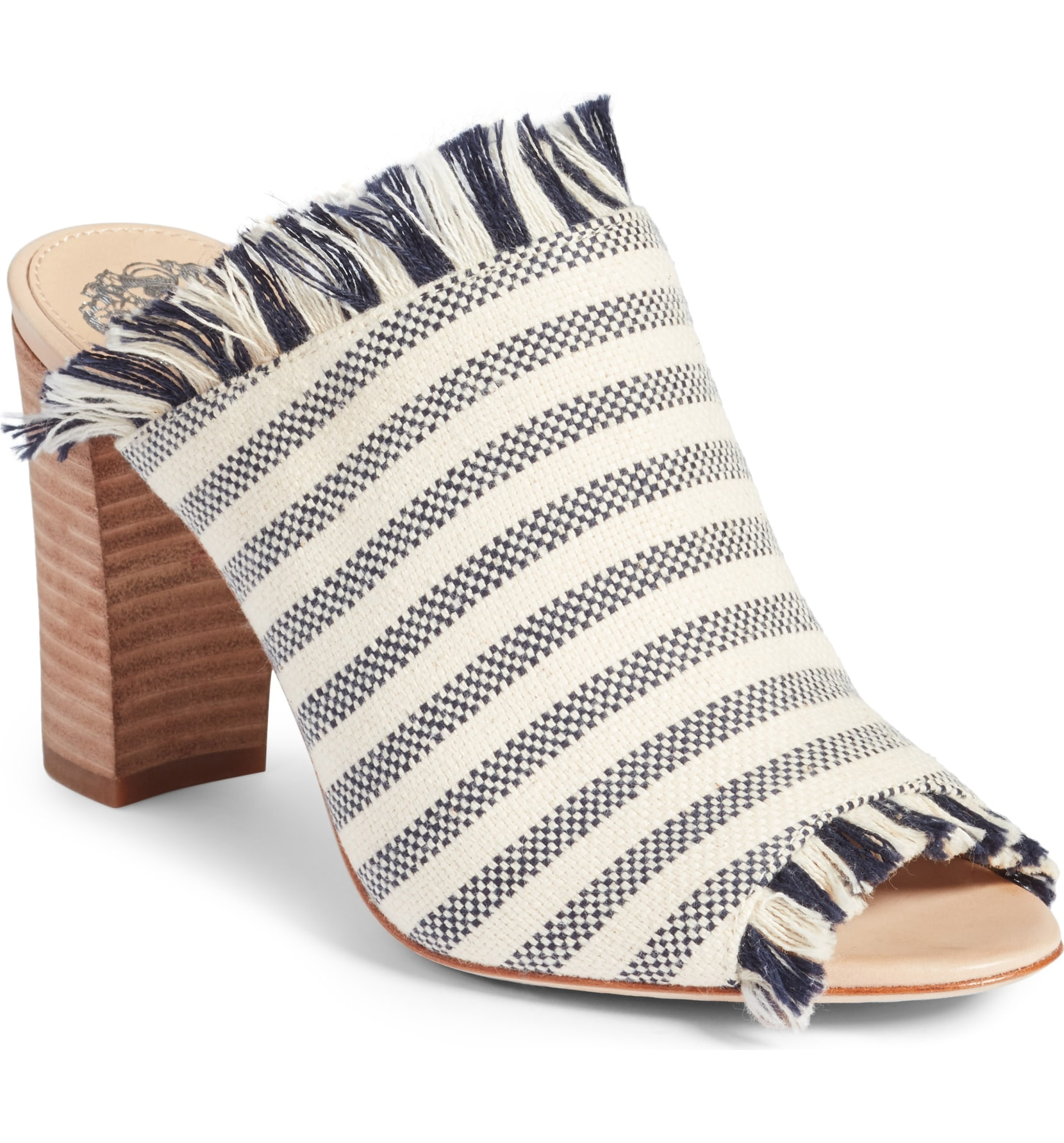 26a733865a49 A fringed linen weave design with navy and cream stripes, plus a chunky  heel make for a shoe meant for comfortable walking and that can be paired  with ...