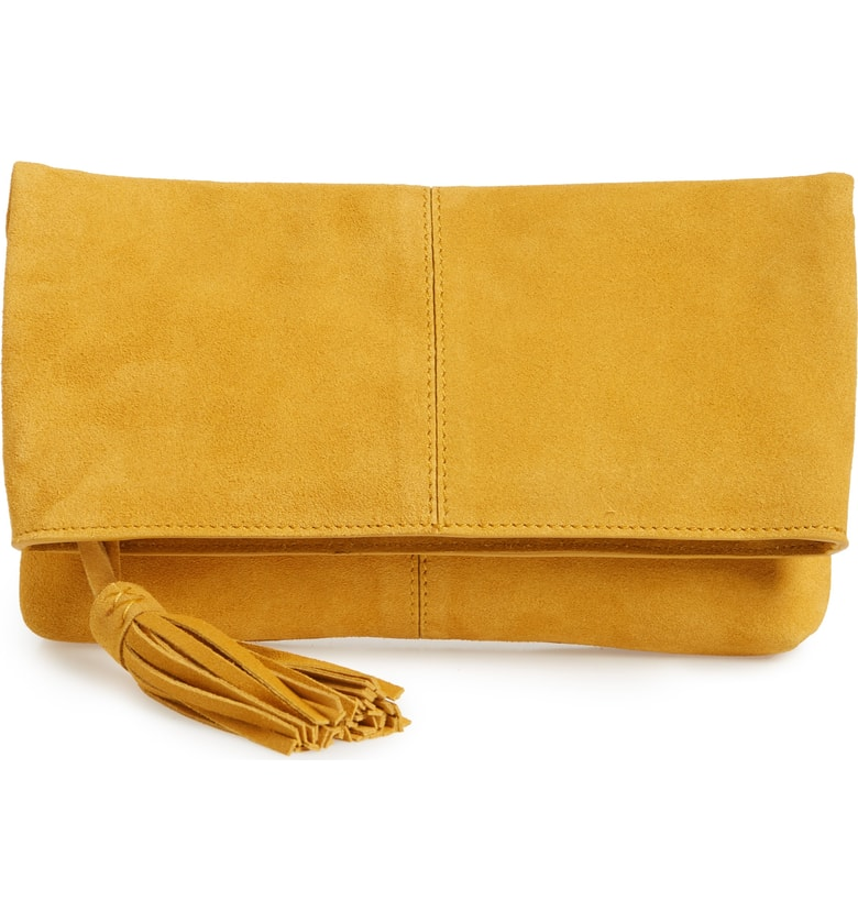 suede clutch leith nordstrom yellow