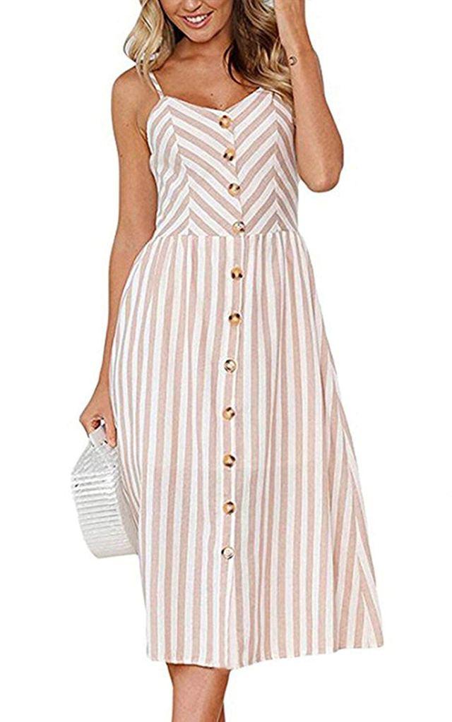 striped midi dress with pockets