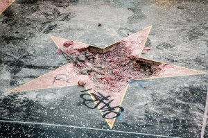 Donald Trump hollywood walk of fame star destroyed