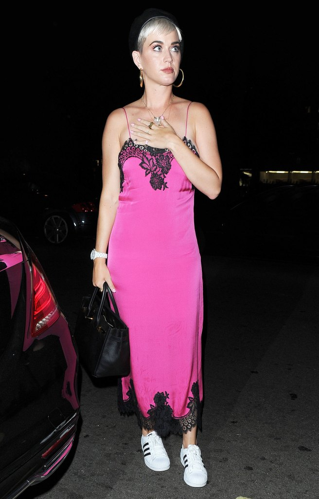 Katy Perry Wears Slip Dress And Sneakers Out With Orlando