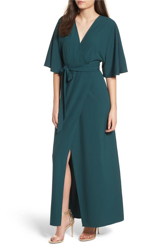kimono maxi wrap dress
