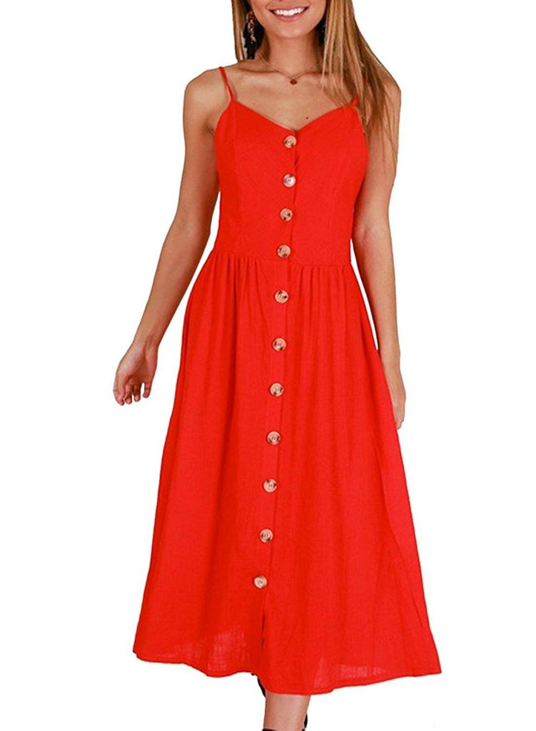 red sun dress with pockets